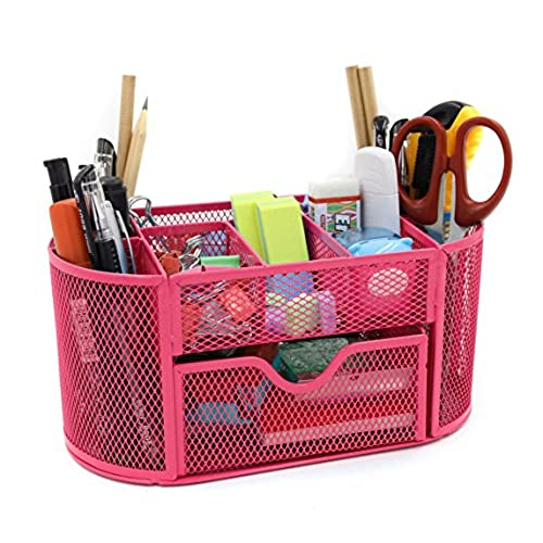 Charmant Mesh Desk Organizer Office Supply Caddy Drawer With Pen Holder Collection  Pink