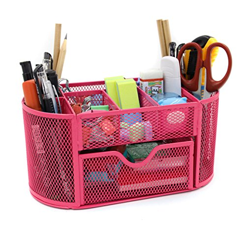 Mesh Desk Organizer Office Supply Caddy Drawer with Pen Holder Collection Pink ()