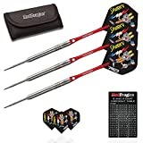 Red Dragon Wes Harms 26g - 90% Tungsten Steel Darts with Flights, Shafts, Wallet & Red Dragon Checkout Card