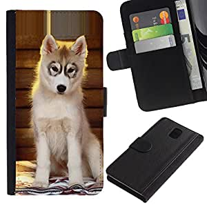 Husky Puppy Alaskan Malamute Dog - la tarjeta de Crédito Slots PU Funda de cuero Monedero caso cubierta de piel Samsung Galaxy Note 3 III