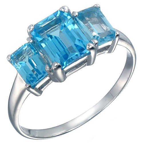 Vir Jewels Sterling Silver 3 Stone Swiss Blue Topaz Ring (3 CT) In Size 7