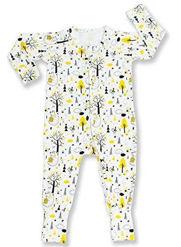 Pajammie Zipsuits Unisex Baby Bamboo and Organic Cotton Romper Footie With 2-Way Zip (6-12 Months, Honey Bears)