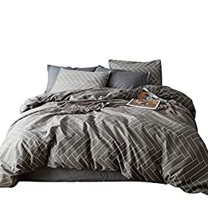 SUSYBAO 3 Pieces Duvet Cover Set 100% Natural Cotton King Size Grey Zig Zag Print Bedding Set 1 Duvet Cover 2 Pillowcases Luxury Quality Soft Breathable Comfortable Durable with Zipper Ties