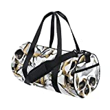 Naanle Gold Skull And Rose Flower Day Of The Dead Gym bag Sports Travel Duffle Bags for Men Women Boys Girls Kids