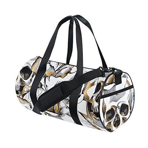 Naanle Gold Skull And Rose Flower Day Of The Dead Gym bag Sp
