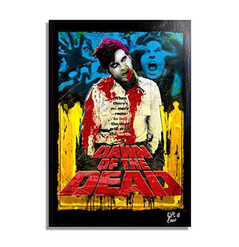 Dawn of The Dead, a Movie by George A. Romero - Pop-Art Original Framed Fine Art Painting, Image on Canvas, Artwork, Movie Poster, Horror, -