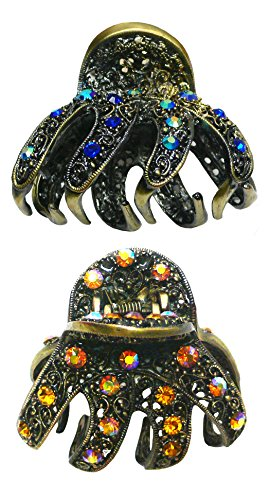Set of 2 Crystal Jaw Clips with Ample Cavity to Hold Thick Hair , One Ea of 2 Colors YY86410-GL56-2blue/amber (Clip Claw Jewelry)