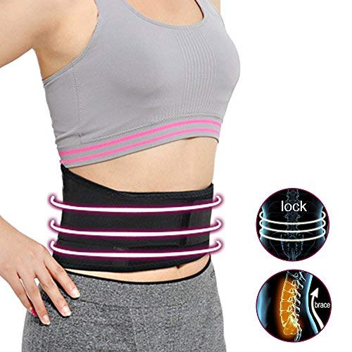 Wellbeing Self-heating Magnetic Therapy Support Brace Removable Adjustable Back Waist Belt Lumbar Lower Massage Pain Relief Heated Support Pads for Women and Men Black (XL)
