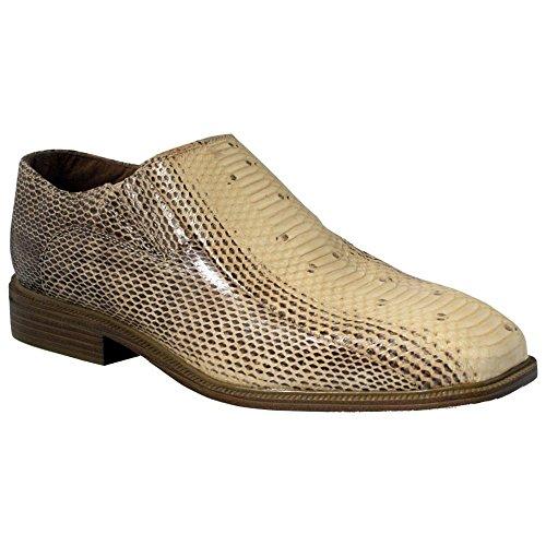 Giorgio Brutini Men's Plain-Toe Gored Snakeskin Slip-On Shoes Undyed Natural 13 (2 Plain Toe Slip)
