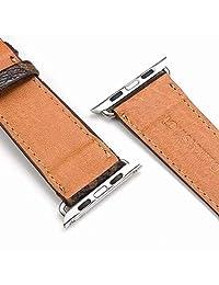 1.654 in (compatible con 1.732 in) compatible con Apple Watch Correas de lujo moda PU Cuero Clásico Muñequeras para Mujeres y Hombres, Repuesto para Apple Watch Series 4 3 2 1 42 1.732 in, Checker Marrón