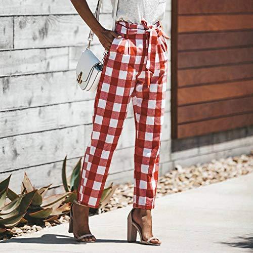 Femmes Masterein Simple Plaid Automne rouge Longues Girls Grid Pantalons Printemps t Pantalons xr1rqwZn