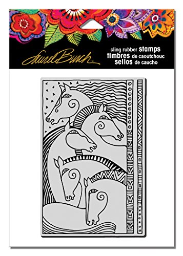 (Stampendous LBCP009 Laurel Burch Cling Stamp, Horse Friends)