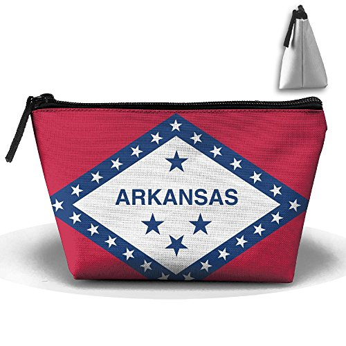 AR Makeup Bag Portable Zipper Travel Toiletries Storage Bags (Arkansas Ar State Flag)