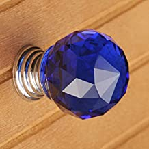 Crazy Genie 10pcs Diamond Shaped Clear Glass Crystal Cabinet Pull Drawer Handle Kitchen Door Home Furniture Knob Diameter 30mm (Blue)