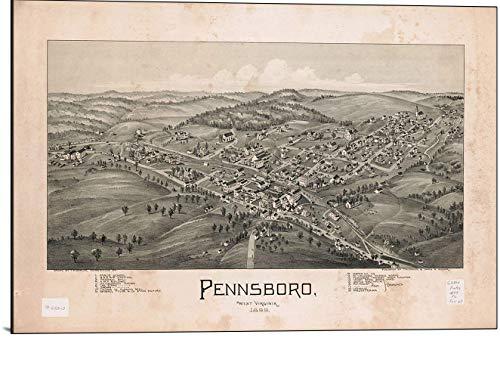 (Cutler Miles Pennsboro West Virginia 1899 Map Print on Wood)