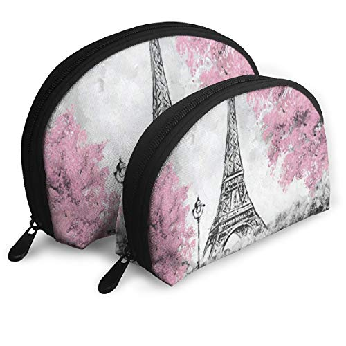 Makeup Bag Watercolor Paris Eiffel Tower Portable Shell Clutch Pouch For Girls Holiday Pack - 2