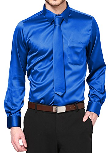 Boy's Royal Blue Satin Dress Shirt Set Prom Dance Party Costume (Kid's ()