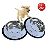 Mr. Peanut's Set of 2 Etched Food Grade Stainless Steel Bowls, 32oz Dry Weight, Dishwasher Safe, Bacteria & Rust Resistant, with Non-Skid No-Tip Natural Rubber Base, Odor Free Alternative to Plastic