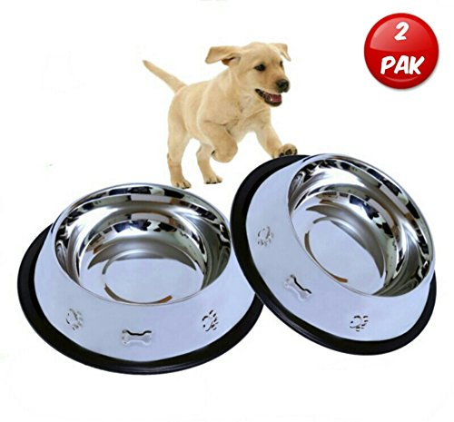 Set of 2 Etched Food Grade Stainless Steel Dog Bowls - 32oz Dry Weight - Dishwasher Safe - Bacteria & Rust Resistant - Non-Skid No-Tip Natural Rubber Base - Odor Free Alternative to Plastic
