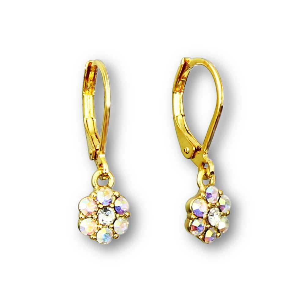 Flower Earrings For Girls | Color Crystal Flower Hoop Earrings For Kids | Rhodium Silver Plated Leverback Earrings For Little Girls Quality Little Girl Earrings | Hypoallergenic Kids Earrings