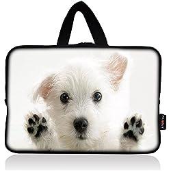 AUPET White Dog Universal 7 ~ 8 inch Tablet Portable Neoprene Zipper Carrying Sleeve Case Bag