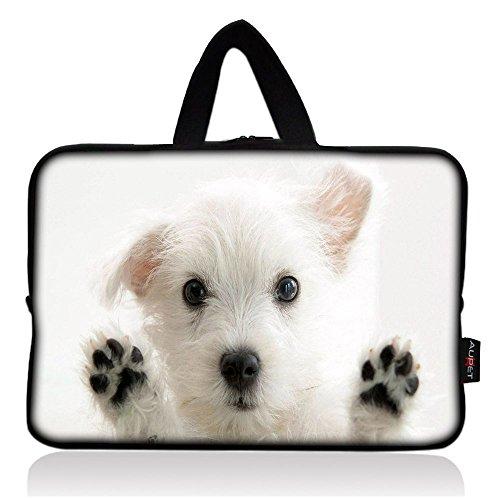 AUPET Cute White Dog Universal 7~8 inch Tablet Portable Neoprene Zipper Carrying Sleeve Case Bag