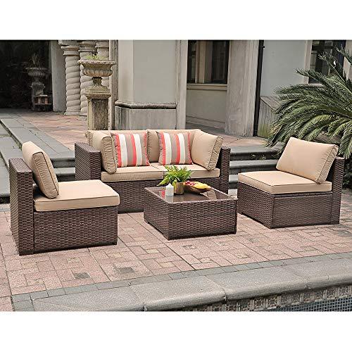 SUNSITT Patio Furniture Set 5 Piece Outdoor Furniture, PE Rattan Wicker Sectional Sofa with Beige Seat & Back Cushions, Brown