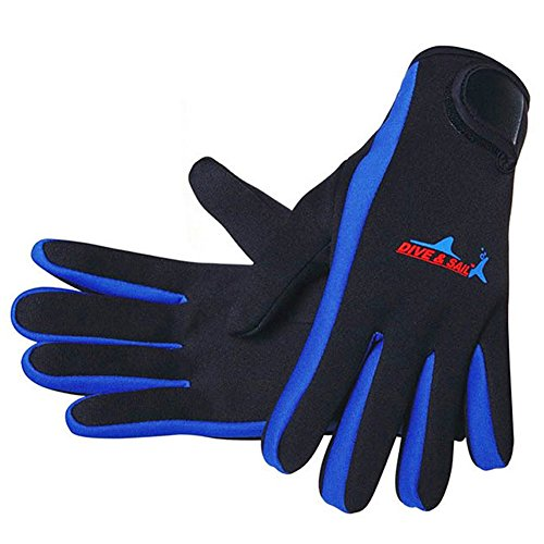 DIVE & SAIL Wetsuits 1.5 mm Premium Neoprene Gloves Scuba Diving Five Finger Glove, Blue, Large