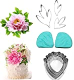 Osislon Series 9 Piece Leaf And Peony Petal Stainless Steel Cutter Fondant Cake Mold Silicone Veining Mold Cake Decorating Brushes Petal Texture Tool Set