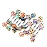 Baoblaze 12 PCS Wholesale 16G Tongue Rings Barbells Assorted Colors