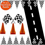 Adorox 100ft Checkered Black/White Racetrack Banner & 1Pk (24'' x 10ft long) Racetrack Floor Runner & 12pc Cones & 72pc mini Racetrack Flags Party Supply