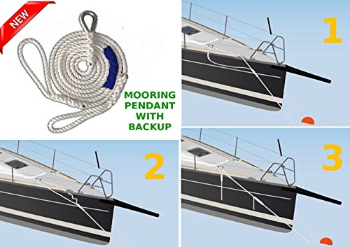 (NEW Driftproof Mooring Pendant with Backup Line. 3 Strand 100% Nylon Rope with Thimble. 5/8