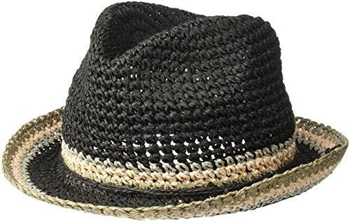Steve Madden Women's Raffia Crochet Straw Striped Fedora, Black, One Size