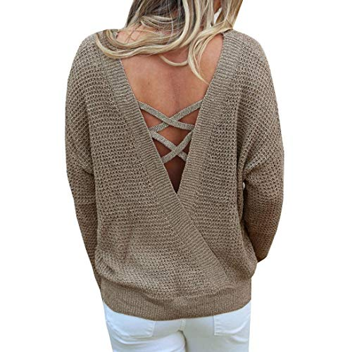 Rambling New Women's Long Sleeve Criss Cross Sexy Backless Casual Loose Knit Pullover Sweaters by Rambling (Image #5)