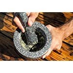 Jamie Oliver Mortar and Pestle 12 Granite mortar and pestle allows for quickly crushing spices, herbs and more Constructed with thick walls and base to form a generous 2 cup capacity Unpolished mortar interior-exterior and pestle for effective grinding