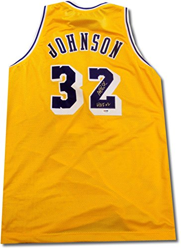 Magic Johnson Signed Autograph Los Angeles Lakers Yellow GOLD HOF 02 PSA/DNA from Cardboard Legends Online