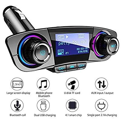 LAYOPO Car MP3 Player (New 2018) Bluetooth FM Transmitter Hands-Free Car Kit Wireless Radio Audio Adapter with Dual USB 5V 2.1A USB Charger, U Disk, TF Card, Folder Playback, AUX Input Output