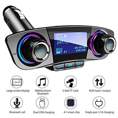 Teepao Bluetooth Fm Transmitter for Car Dual USB Car Charger Adapter Wireless Radio Transmitter with Hand-Free Calling/ 1.3'' Display/Music Player, Support TF Card USB Disk AUX Input/Output, Black by Teepao