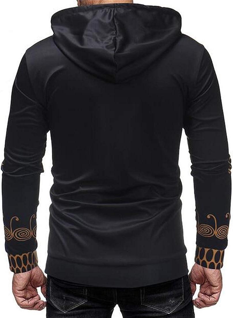 XTX Mens 3D Print Relaxed Fit Stylish Long Sleeve Hoodies Sweater Shirt
