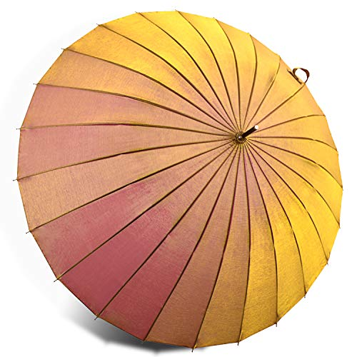 Kung Fu Smith Vintage Parasol Umbrella with 24 Ribs, Reflective UV Protection Umbrella for Women and Girls, Strong for Wind and Rain - Ultra Light Gold