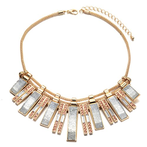 (Fsmiling Vintage Gold Tone Chain Crystal Glitter Bar Blue Statement Necklace for Valentines Day (Blue bib)