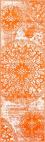 Unique Loom 3138703 Sofia Collection Traditional Vintage Beige Area Rug, 2' x 7' Runner, Orange (Burnt Runner Orange Rug)