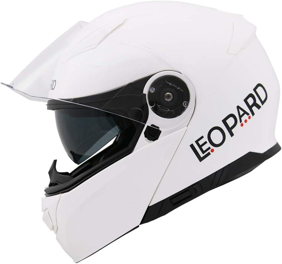Motorradhelm Damen und Herren ECE Genehmigt Leopard LEO-888 Doppelvisier Klapphelm Integralhelm XS-XXL