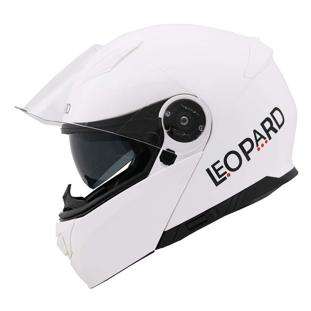 Leopard LEO-888 Fullface Helm Klapphelm Jethelme Motorrad Roller mit Doppelvisier Motorradhelm Damen und Herren Integralhelm ECE Genehmigt #6 Wei/ß//Grau//Schwarz XXL 63-64cm