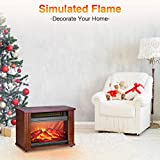 Infrared Fireplace Heater- 1200W Electric Fireplace Heater with 3D Flames Effect, 200 Sq Ft Coverage, Rapid Heating, No Noise, Overheat Protection, Energy-Saving, Space Electric Heater Portable Indoor