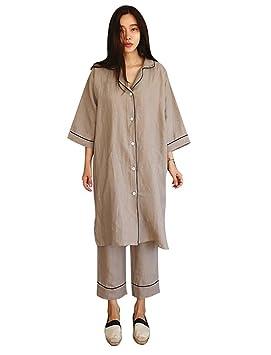 Conjunto de pijamas largos de algodón y lino de 2 piezas para mujeres, trajes casuales