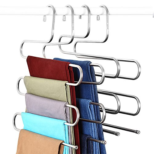 Elover Pants Hangers [4 Pack] S-Type Stainless Steel Multi Layers Jeans Hangers, Multi-Purpose Closet Storage Organizer for Pants Jeans Tie Scarf Towel Clothes, Space Saving Storage Rack