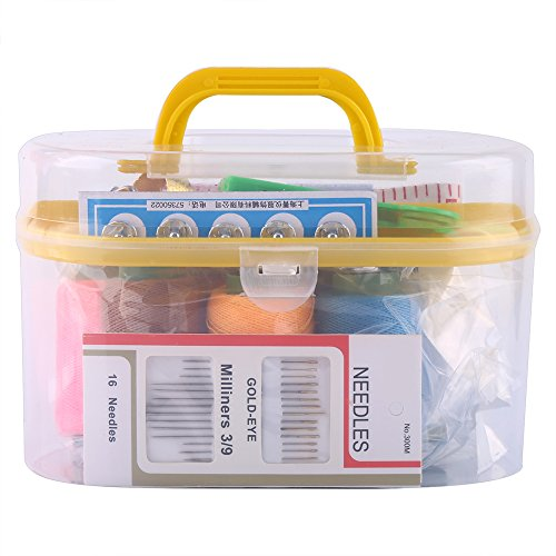 Large Portable Sewing Kit Box Plastic Organizer Storage Box with Removable Interlayer for 10pcs Sewing Tools Including Needle Tape Measure Scissor Thimble(Yellow) by Walfront