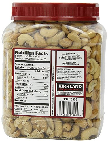 Kirkland Signature Premium Fancy Salted Cashews 40 Oz - Pack of 2