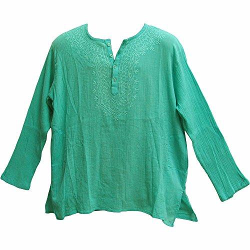Crinkled Gauze Tunic - Mens Indian Bohemian Crinkled Gauze Cotton Embroidered Tunic Shirt Kurta Aqua Blue (Large)